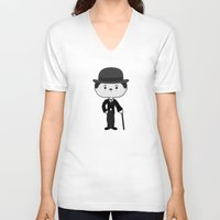 chaplin V-neck T-shirts featuring Charlie Chaplin by Sombras Blancas Art & Design
