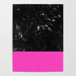 Pink Meets Black Marble #1 #decor #art #society6 Poster