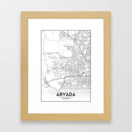Minimal City Maps - Map Of Arvada, Colorado, United States Framed Art Print