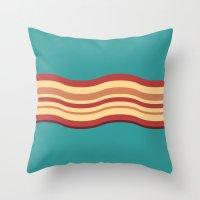 bacon Throw Pillows featuring Bacon by Jiro Tamase