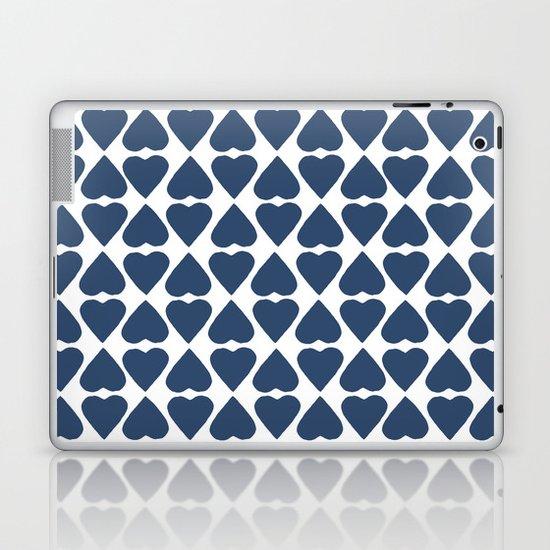 Diamond Hearts Repeat Navy Laptop & iPad Skin