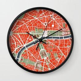 Paris city map classic Wall Clock