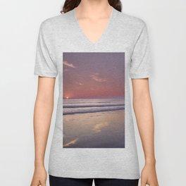 Barrosa Beach At Sunset. Cadiz Unisex V-Neck