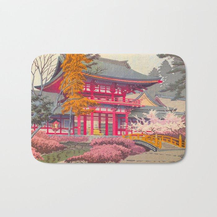 Japanese Woodblock Print Vintage Bright East Asian Red Pagoda Spring Garden Bath Mat