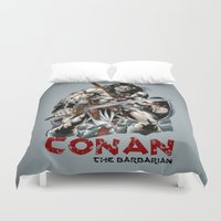 conan Duvet Covers featuring Conan by CromMorc