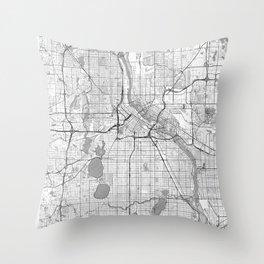 Minneapolis Map Line Throw Pillow