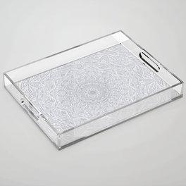 Most Detailed Mandala! Cool Gray White Color Intricate Detail Ethnic Mandalas Zentangle Maze Pattern Acrylic Tray