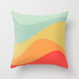 Abstract Color Waves - Bright Rainbow Throw Pillow