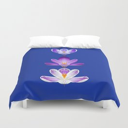 Violet Crocus Flower Trio Duvet Cover