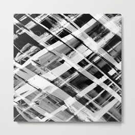 Check Stripe Black and White Metal Print