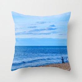 Evening Fishing at Sheringham Beach, U.K Throw Pillow