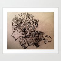 poodle Art Prints featuring poodle by The Traveling Catburys