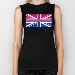 Gay Pride LGBT Bisexual Bi GB UK Union Jack Flag design Biker Tank