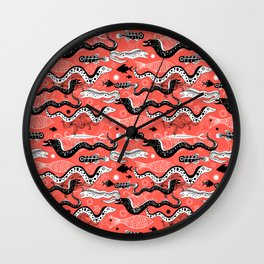 Beautiful graphic illustration of the sea snake, Moray Wall Clock