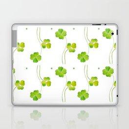 green clover leaf pattern watercolor Laptop & iPad Skin
