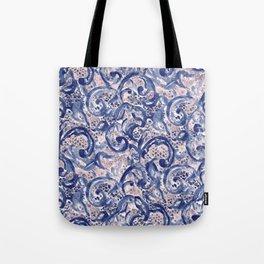 Vinage Lace Watercolor Blue Blush Tote Bag