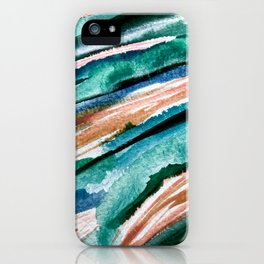 Here's to the Dreamers [2]: a minimal, watercolor abstract piece in pinks, green, blue, and white iPhone Case