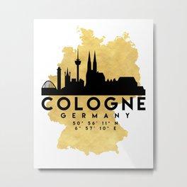 COLOGNE GERMANY SILHOUETTE SKYLINE MAP ART Metal Print
