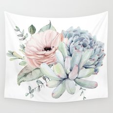 Pretty Pastel Succulents Wall Tapestry