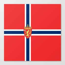 Flag of Norway Scandinavian Cross and Coat of Arms Canvas Print