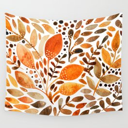 Autumn watercolor leaves Wall Tapestry