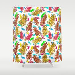 Bright Australian Native Floral Print Shower Curtain