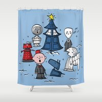 charlie brown Shower Curtains featuring A Charlie Who Christmas by fishbiscuit