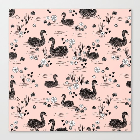 Swans painting cute girly trend cell phone case with swans pattern florals hand painted blush Canvas Print