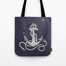 Navy Blue Nautical White Anchor for Sailor Texture Tote Bag