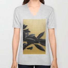 Black Foliage , Gold Background Unisex V-Neck