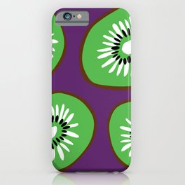 Bright Purple and Green Kiwifruit Pattern iPhone Case