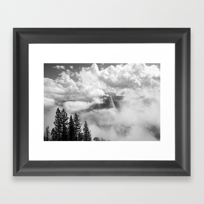 Half Dome in the Clouds, Yosemite National Park, Yosemite Photography, Black and White Photography Framed Art Print