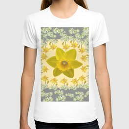 CREAMY SPRING DAFFODILS & FLOWERS GREY GARDEN T-shirt