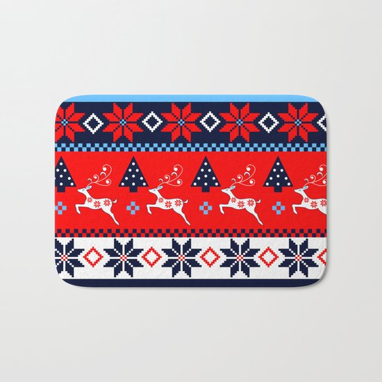 Scandinavian holidays pattern design Bath Mat