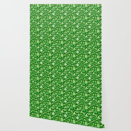 Lucky Green Watercolour Shamrock Pattern Wallpaper