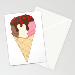 Chocolate dipped Neapolitan with Cherry Stationery Cards