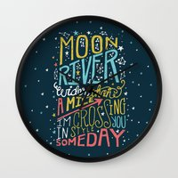 river song Wall Clocks featuring MOON RIVER by Matthew Taylor Wilson