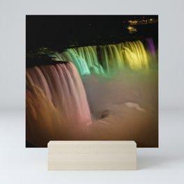 Niagara Falls Illumination Yellow Mini Art Print