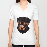 rottweiler V-neck T-shirts featuring Rottweiler 2 by Mickeyila Studios