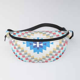 Colorful patchwork mosaic oriental kilim rug with traditional folk geometric ornament Fanny Pack