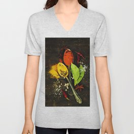 Bright spices on an old  wooden board Unisex V-Neck