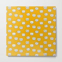 Cat heads in orange yellow Metal Print