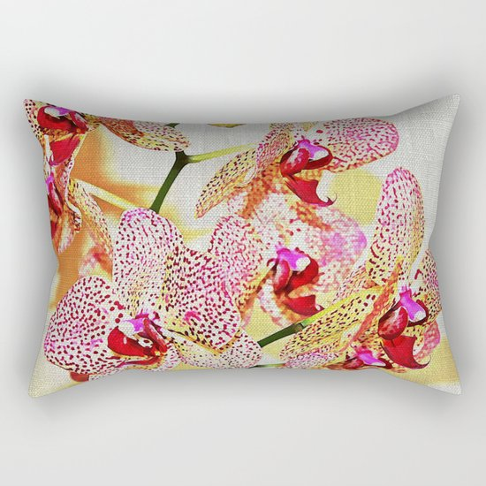 Painted Spotted Orchids Rectangular Pillow