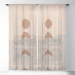 Vintage abstract landscape the great wave ocean sunset moon Sheer Curtain