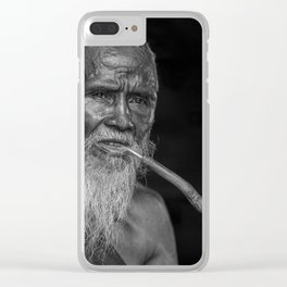 Portrait of an Elderly Man Smoking Pipe Clear iPhone Case