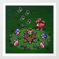 Flute Boy Art Print