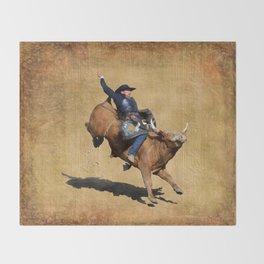 Bull Dust! - Rodeo Bull Riding Cowboy Throw Blanket
