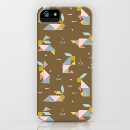 Tangram Bunnies M+M Nutmeg by Friztin iPhone Case