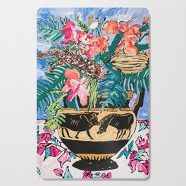 Tropical Banksia Bouquet after Matisse in Greek Boar Urn on Pale Painterly Blue Cutting Board