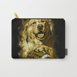 golden retriever dog football splatter watercolor yellow gold sepia Carry-All Pouch